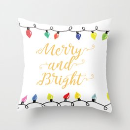 Merry and Bright Lights Throw Pillow
