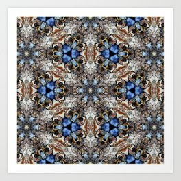River Birch bark with blue sky kaleidoscope Art Print