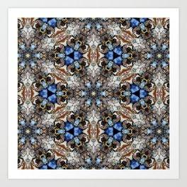 River Birch bark with blue sky kaleidoscope Art Print