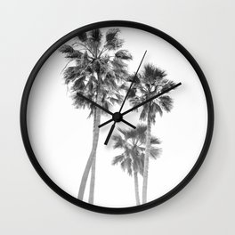 Monochrome California Palms Wall Clock
