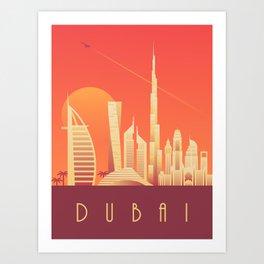 Dubai City Skyline Retro Art Deco Tourism - Sunset Art Print