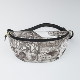 Medieval town ink Fanny Pack