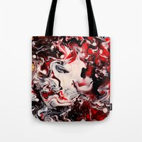 mad hatter Tote Bags featuring Mad Hatter by justforspiteandmalicedesigns
