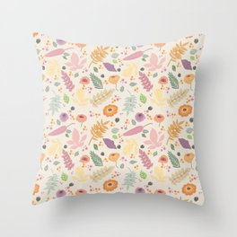 Multicoloured delicate flowers on warm background, pretty and feminine Throw Pillow