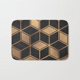 Charcoal and Gold - Geometric Textured Cube Design II Bath Mat