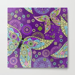 Colorful Butterflies and Flowers V5 Metal Print