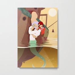 Merman and Sailor Metal Print