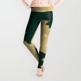 Stylish forest green gold glitter abstract brushstrokes Leggings