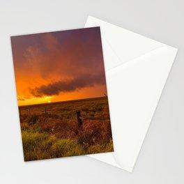 Sunset on the Plains - Sun Illuminates Sky After Stormy Day Stationery Cards