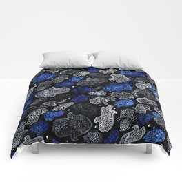 (N13) Blue Indigo Traditional Authentic Moroccan Hands Artwork. Comforters