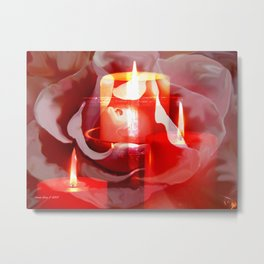 Candles Rose And Cross By Annie Zeno  Metal Print