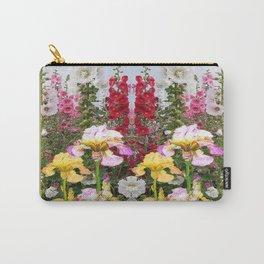 YELLOW  & GREY IRIS HOLLYHOCK FLOWER GARDEN DESIGN Carry-All Pouch