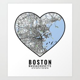 Boston Heart Map Art Art Print
