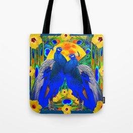 TEAL YELLOW HIBISCUS & BLUE PEACOCKS ART Tote Bag