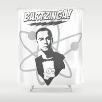 simpson Shower Curtains featuring sheldon cooper and bart simpson: big bang theory art 2 by logoloco