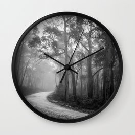 Misty Forest Path Wall Clock