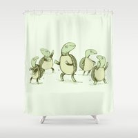 turtles Shower Curtains featuring Dancing Turtles by Sophie Corrigan