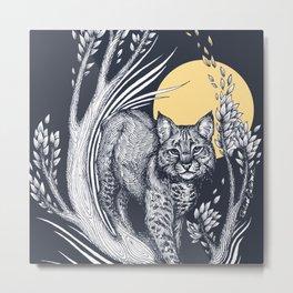 Bobcat and the Moon Metal Print