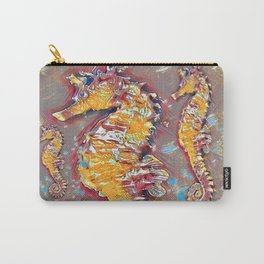 PUTTY GREY & GOLD SEA HORSES BEACH ART Carry-All Pouch