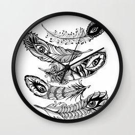 bizarre feathers Wall Clock