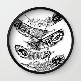 bizarre feathers Wall Clock