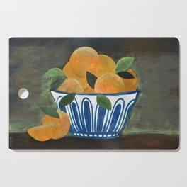 Still Life Oranges in Blue Bowl Cutting Board