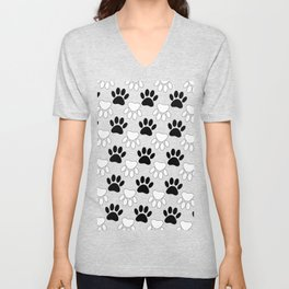 Black And White Dog Paw Print Pattern Unisex V-Neck