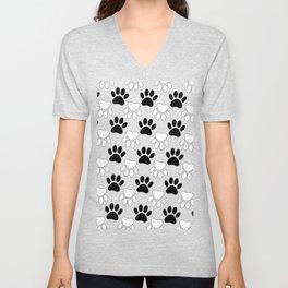 Black And White Dog Paw Print Pattern Unisex V-Neck