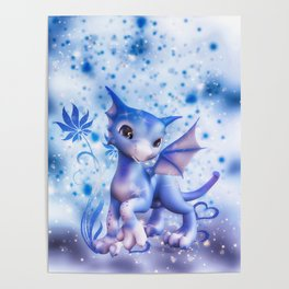 Cuddle me Dragon in blue Poster