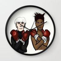 basquiat Wall Clocks featuring Warhol Basquiat by Mackenzie Mauro