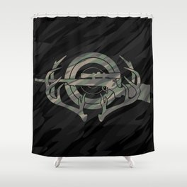 Camouflage Hunting and Shooting Sports Logo with Rifle, Buck Horns and Target Shower Curtain