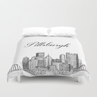pittsburgh Duvet Covers featuring Pittsburgh Skyline  by Pineapple Street Designs