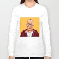 lama Long Sleeve T-shirts featuring Hipstory -  Dalai Lama by Amit Shimoni
