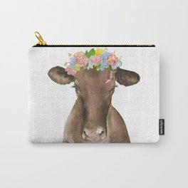 Brown Cow with Floral Wreath Carry-All Pouch