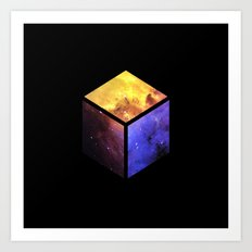 Nebula Cube - Black Art Print