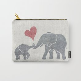 Elephant Hugs with Heart in Muted Gray and Red Carry-All Pouch