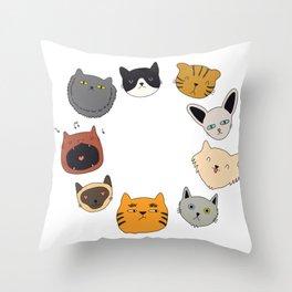 cute cat doodles circle #4 Throw Pillow
