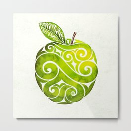 Swirly Apple Metal Print