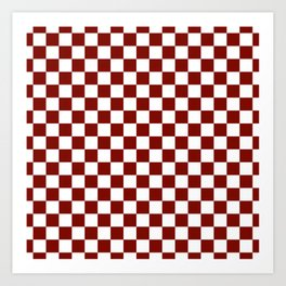 Vintage New England Shaker Barn Red and White Milk Paint Jumbo Square Checker Pattern Art Print