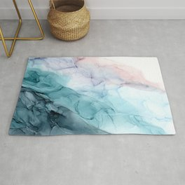 Beachy Pastel Flowing Ombre Abstract Flip Rug