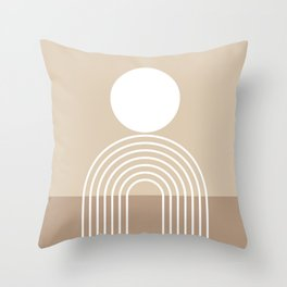 Geometric Lines in Beige and Brown (Sun and Rainbow abstraction) Throw Pillow