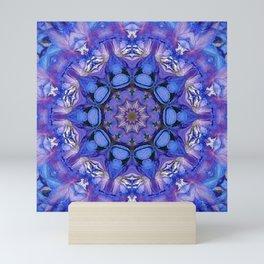 Summer sky Delphinium mandala Mini Art Print