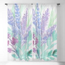 Lavender Floral Watercolor Bouquet Sheer Curtain