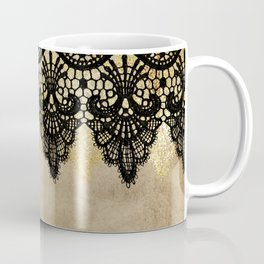 Elegance- Ornament black and gold lace on grunge paper backround Coffee Mug