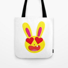 One Tooth Rabbit Emoticons Smiling Bunny Face with Heart Eyes Tote Bag
