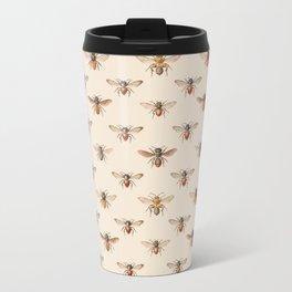 Vintage Bee Illustration Pattern Metal Travel Mug