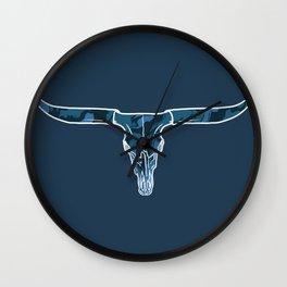 Trippy Drippy Longhorn Skull - Blue Wall Clock