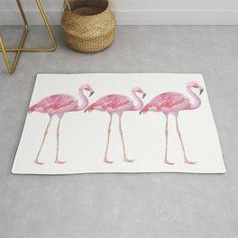 Flamingo - Pink Bird - Animal On White Background Rug