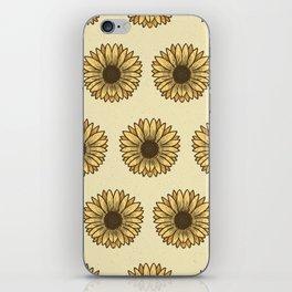 Retro Pop Sunflowers x Pastel Yellow iPhone Skin