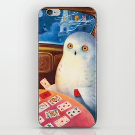 Snow Owl In The Old Car iPhone Skin